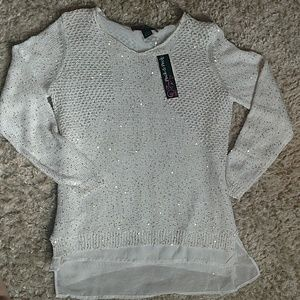 NWT White Sequined Sweater